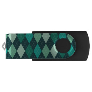 Teal argyle pattern USB flash drive