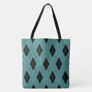 Teal-Argyle-Shoulder-Bag''s-Tote's_Multi-Style's Tote Bag