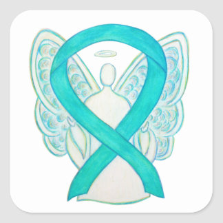 Teal Awareness Ribbon Custom Angel Decal Stickers