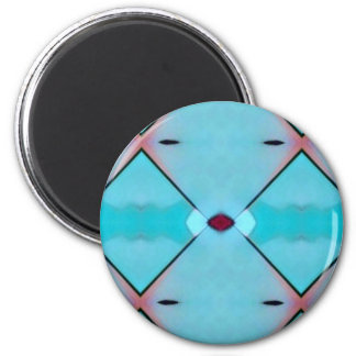 Teal Baby Blue Geometric Criss-cross Pattern 2 Inch Round Magnet