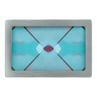 Teal Baby Blue Geometric Criss-cross Pattern Belt Buckles