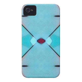Teal Baby Blue Geometric Criss-cross Pattern iPhone 4 Case-Mate Case