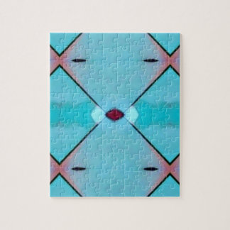 Teal Baby Blue Geometric Criss-cross Pattern Puzzle