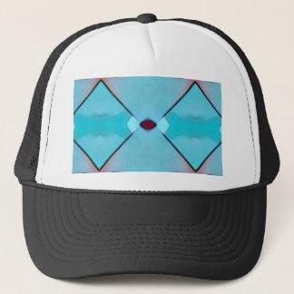 Teal Baby Blue Geometric Criss-cross Pattern Trucker Hat
