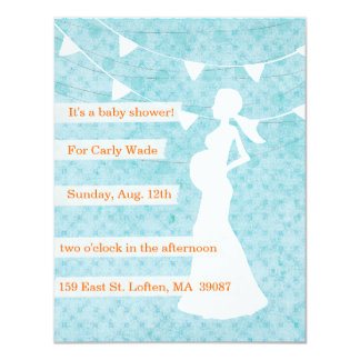 Teal Baby Shower Invitation with Flags