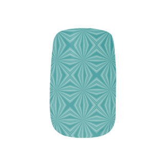 Teal Background Squiggly Squares Minx Nail Art