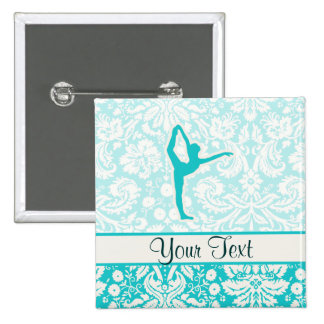 Teal Ballet 2 Inch Square Button