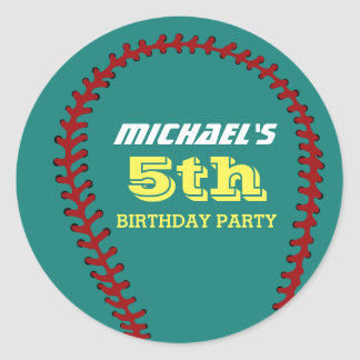 Teal Baseball Sticker for Sports Birthday Party