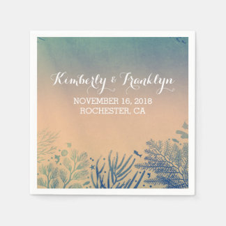 Teal Beach Wedding Paper Napkin