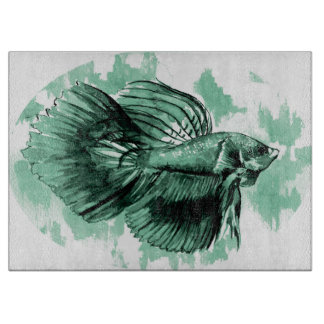 Teal Betta Fish Decorative Cutting Board