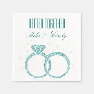 Teal Better Together Engagement | Wedding Napkins Disposable Napkin