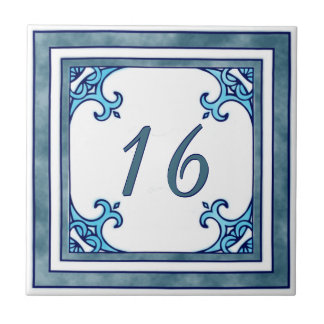 Teal Big House Number Tile