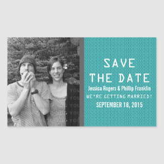 Teal Binary Code Photo Save the Date Stickers