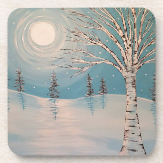 Teal birch tree in snow coasters