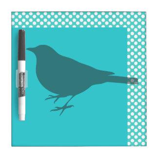 Teal Bird Silhoutte Dry Erase Board
