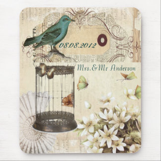 Teal Bird vintage floral botanical wedding Mouse Pad