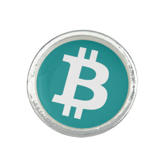 Teal Bitcoin Logo Symbol Cryptocurrency Ring