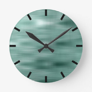 Teal Black Abstract Minimal Metallic Stripes Round Clock