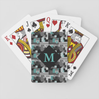 Teal, Black and Gray Digital Camouflage Monogram Playing Cards