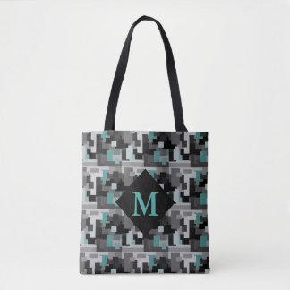 Teal, Black and Gray Digital Camouflage Monogram Tote Bag