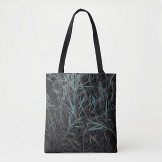 Teal, Black and Grey Abstract Tote Bag