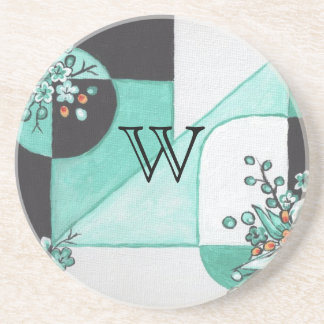 Teal , Black and White Coaster