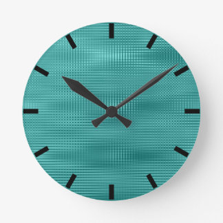 Teal Black Aquatic Minimal Metallic Stripes Round Clock