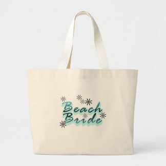 Teal/Black Beach Bride Large Tote Bag