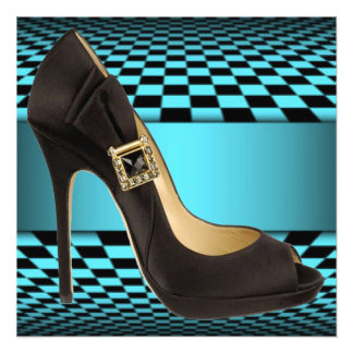 Teal Black Checker Board High Heel Design Photo Print