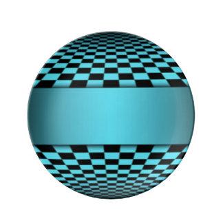 Teal Black Checker Board Pattern Print Design Porcelain Plates