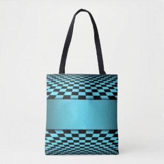 Teal Black Checker Board Pattern Print Design Tote Bag