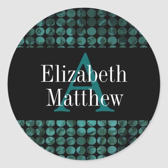 Teal Black Customize Last and First Name Sticker