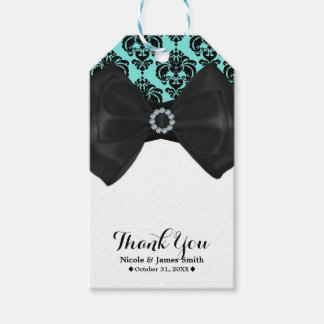 Teal & Black Damask Bling Bow Glam Sweet 16 Party Gift Tags