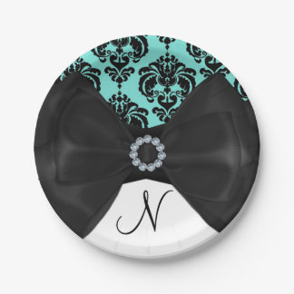 Teal & Black Damask Bling Bow Glam Sweet 16 Party Paper Plate