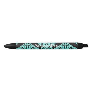 Teal & Black Damask Elegant Personalized Chic Blue Ink Pen