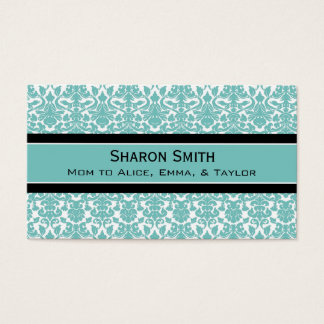 Teal Black Damask Retro Mom Calling Cards