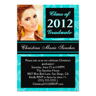 Teal Black Floral Swirl 2012 Graduate Invite