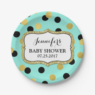 Teal Black Gold Confetti Baby Shower Plate