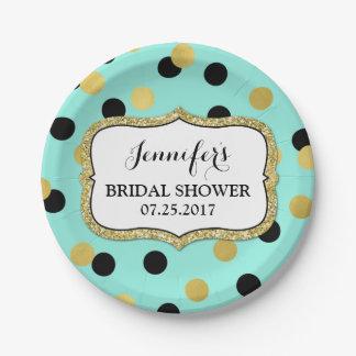 Teal Black Gold Confetti Bridal Shower Plate