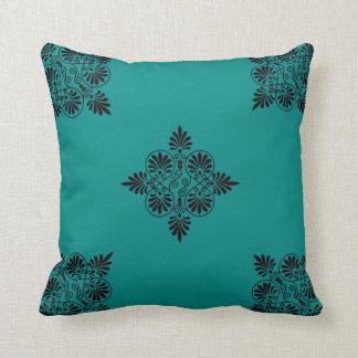 Teal Black Greco-Roman Greek Motif Modern Design Throw Pillow