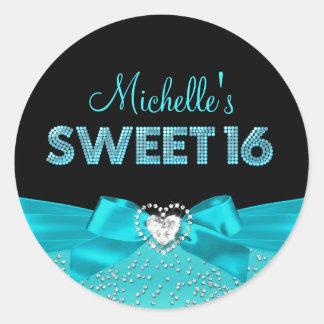 Teal & Black Heart Bow Sweet Sixteen Sticker