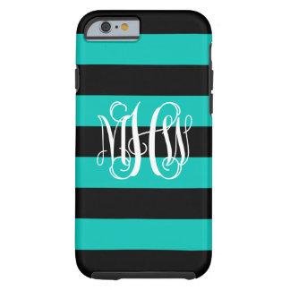 Teal Black Horiz Stripe #3 Vine Script Monogram Tough iPhone 6 Case