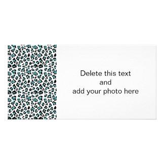 Teal Black Leopard Animal Print Pattern Customized Photo Card