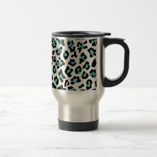 Teal Black Leopard Animal Print Pattern Travel Mug