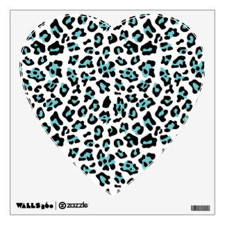 Teal Black Leopard Animal Print Pattern Wall Decal
