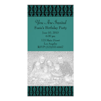Teal Black Pattern Party Photo Greeting Card
