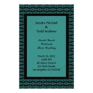 Teal Black Pattern Wedding Custom Stationery