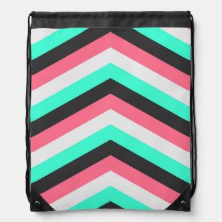 Teal Black Pink and Aqua Hipster Stripes Drawstring Bag
