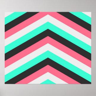 Teal Black Pink and Aqua Hipster Stripes Poster