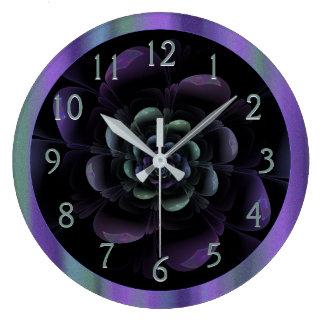 Teal Black Purple Floral Large Clock